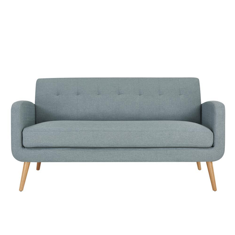 Kingston Light Blue Linen Mid Century Modern Sofa with Natural Legs