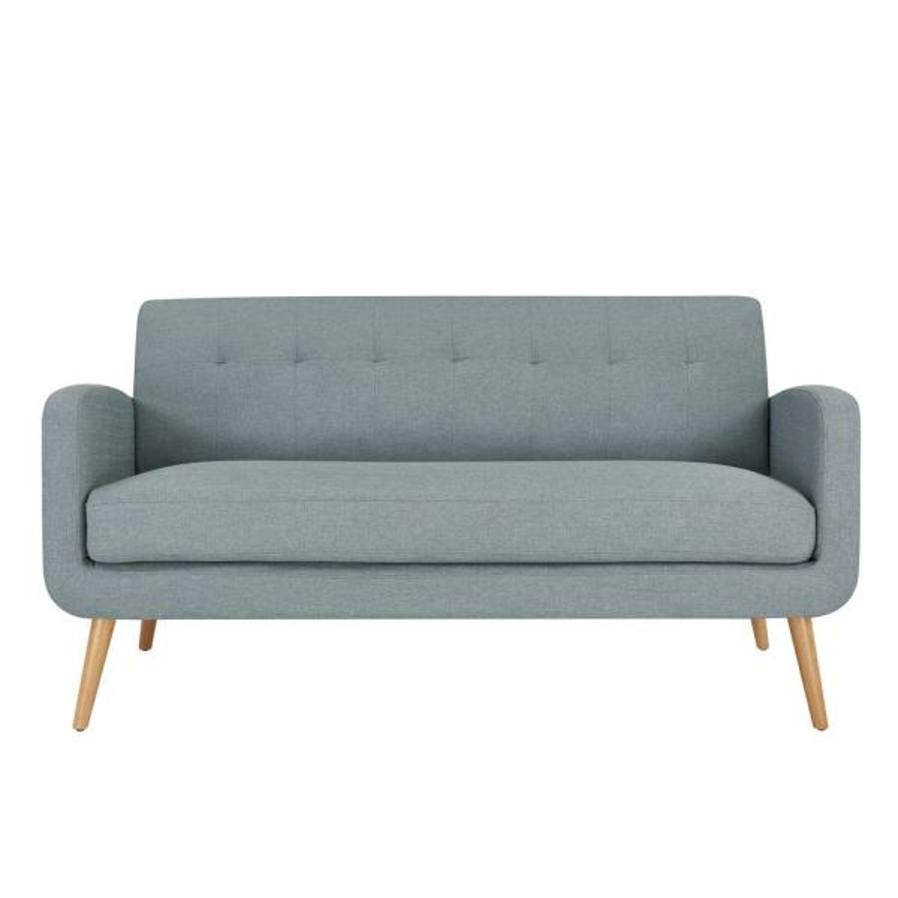 Handy Living Kingston Light Blue Linen Mid Century Modern Sofa with