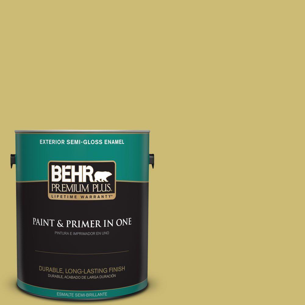 1 gal. #HDC-SP16-02 Pistachio Shortbread Semi-Gloss Enamel Exterior Paint