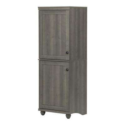 Hopedale Gray Maple 2-Door Narrow Storage Cabinet