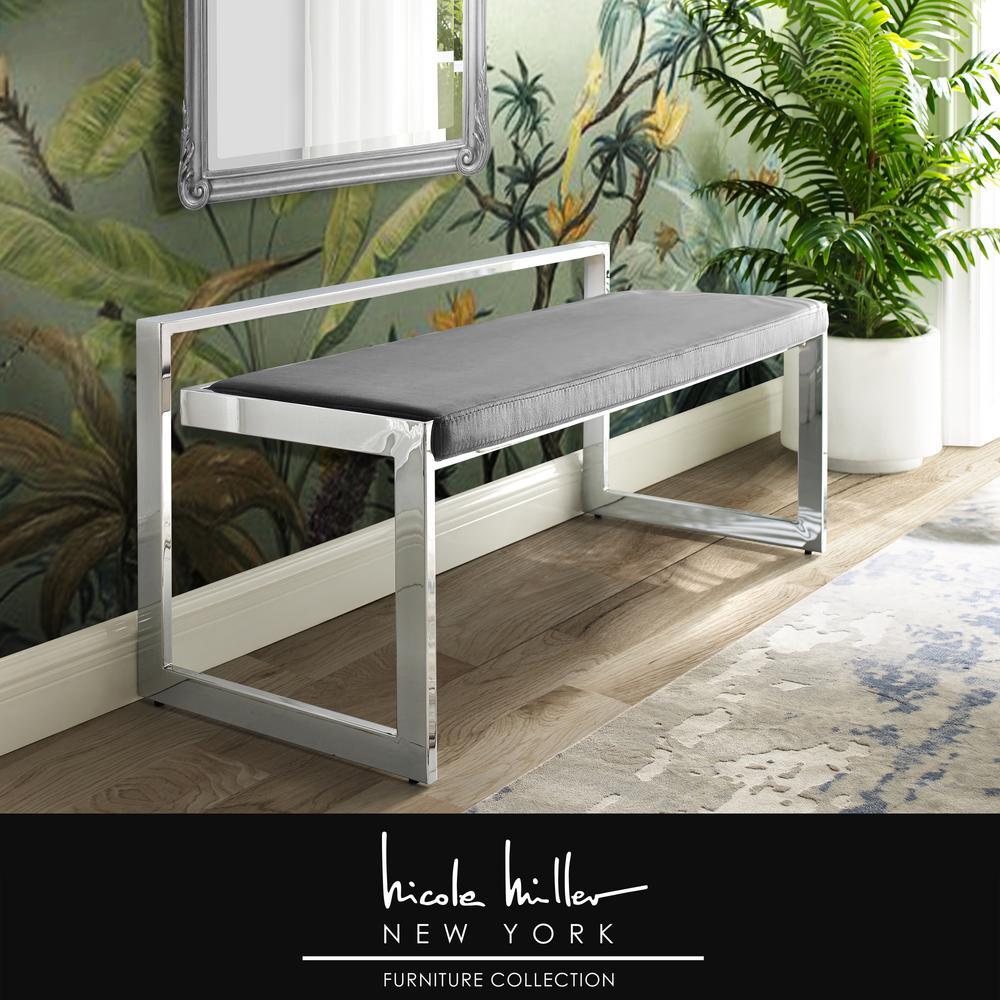 Ledger Grey/Chrome Velvet Bench with Metal Frame