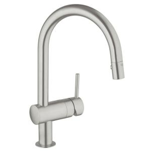 Minta Single Handle Pull Down Sprayer Kitchen Faucet In SuperSteel  InfinityFinish
