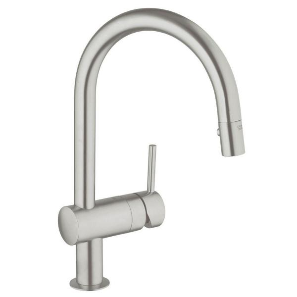 GROHE Minta Single-Handle Pull-Down Sprayer Kitchen Faucet in SuperSteel InfinityFinish