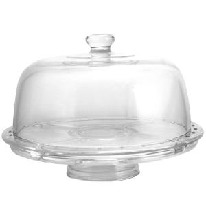 Gibson Home Great Foundations 1 Tier Clear Glass Cake Stand