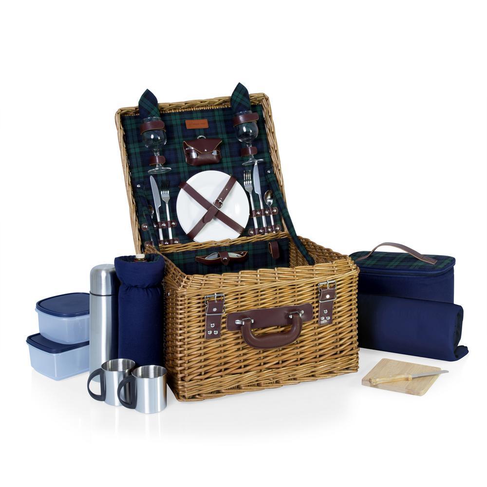 Canterbury Blue Willow Wood Picnic Basket