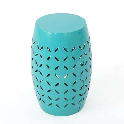 Jesse Teal Round Metal Outdoor Side Table
