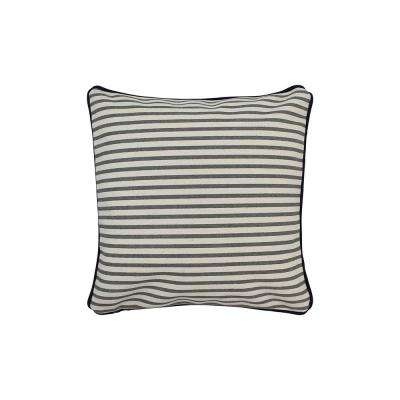 12 in. x 12 in. Gray  Standard Pillow Stripes with Green Eco Friendly Insert