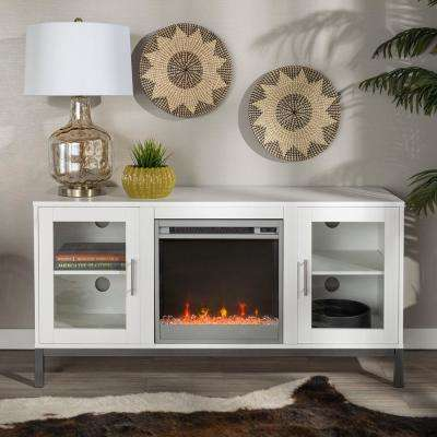 52 in. Modern Fireplace TV Stand - White