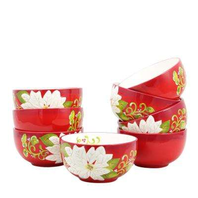 Pleasant Poinsettia 5.5 in. Bowl (Set of 8)