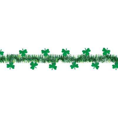 1.5 in. x 15 ft. St. Patrick's Day Green Tinsel Shamrock Garland (2-Pack)