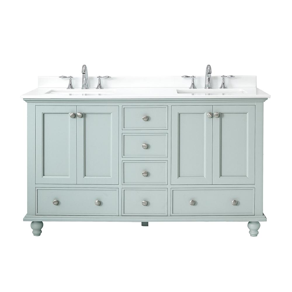 Home Decorators Collection Orillia 60 in. W x 22 in. D Vanity in Misty Latte with Marble Vanity Top in White with White Sink
