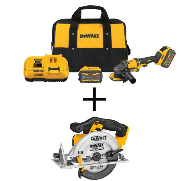 FLEXVOLT 60-Volt MAX Li-Ion Cordless 4-1/2 in. to 6 in. Small Angle Grinder with 20-Volt 6-1/2 in. Circ Saw (Tool-Only)