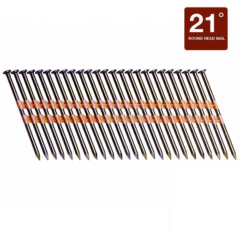 "Plastic Strip 3 1//4/"" Inch Full Round Head Nails 21 Degree 2,000"