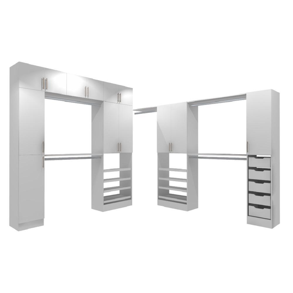 Horizon 15 in. D x 255 in. W x 99 in. H Melamine Walk-in Closet System Kit in White