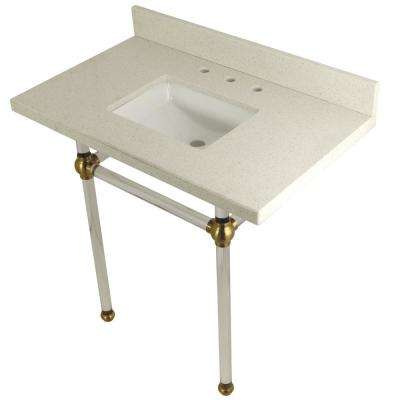 Square Sink Washstand 36 in. Console Table in White Quartz with Acrylic Legs in Satin Brass