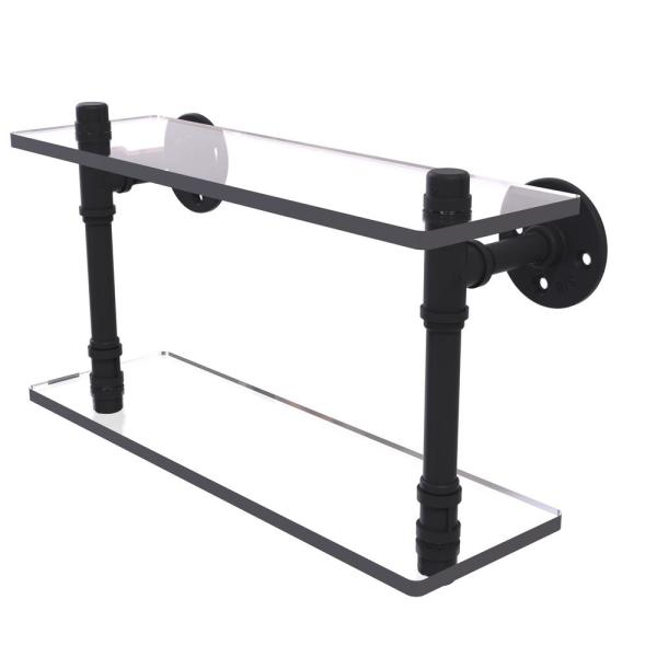 Allied Brass Pipeline Collection 16 In Double Glass Shelf In Matte Black P 420 16 Dgs Bkm The Home Depot