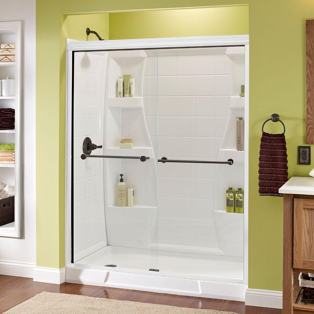 Delta Lyndall 60 in. x 70 in. Semi-Frameless Sliding Shower Door in White with Bronze Handle and Clear Glass