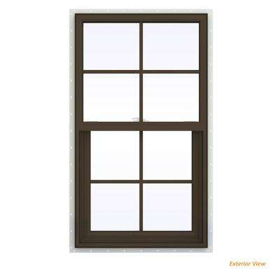 23.5 in. x 35.5 in. V-2500 Series Brown Painted Vinyl Single Hung Window with Colonial Grids/Grilles