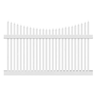 Barrington 5 ft. H x 8 ft. W White Vinyl Picket Fence Panel Kit