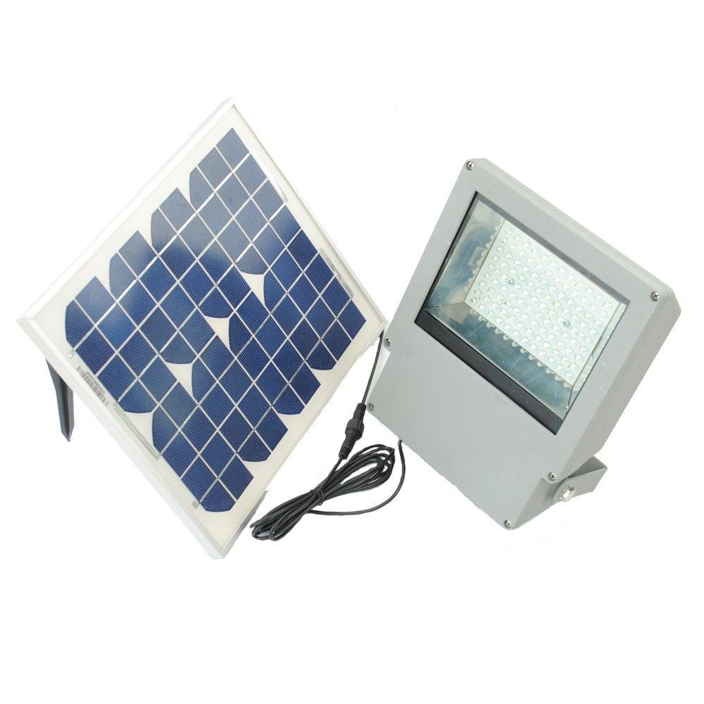 Solar Goes Green Solar Integrated LED Gray Outdoor Flood Light with Remote Control and Timer
