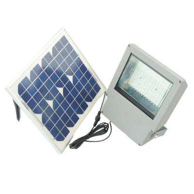 Solar Integrated LED Gray Outdoor Flood Light with Remote Control and Timer