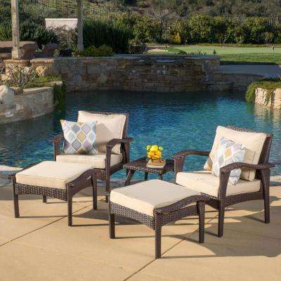 Honolulu Brown 5-Piece Wicker Patio Conversation Set with Tan Cushions