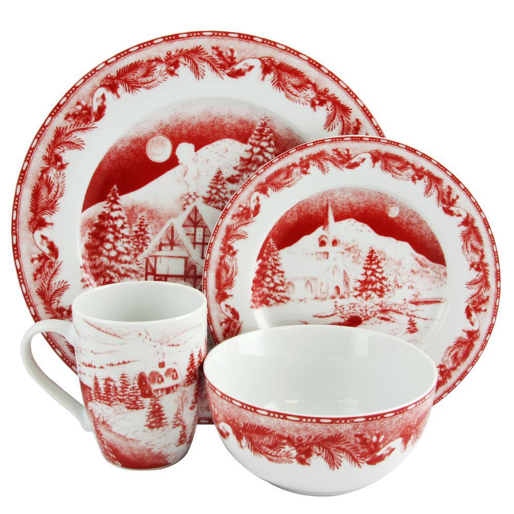Winter Cottage 16 piece Dinnerware Decorated Set in Red