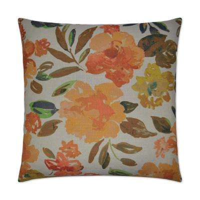 Impression Orange Feather Down 24 in. x 24 in. Decorative Throw Pillow