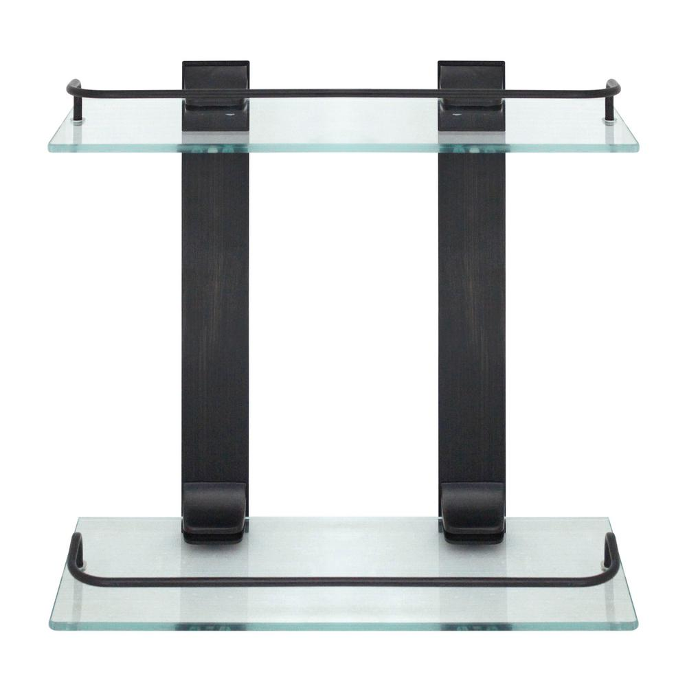 MODONA 13.75 in. W Double Glass Wall Shelf with Pre-Installed Rails ...