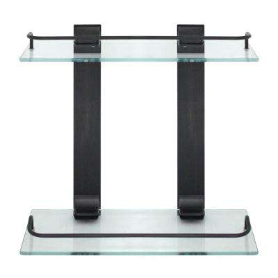 13.75 in. W Double Glass Wall Shelf with Pre-Installed Rails in Rubbed Bronze