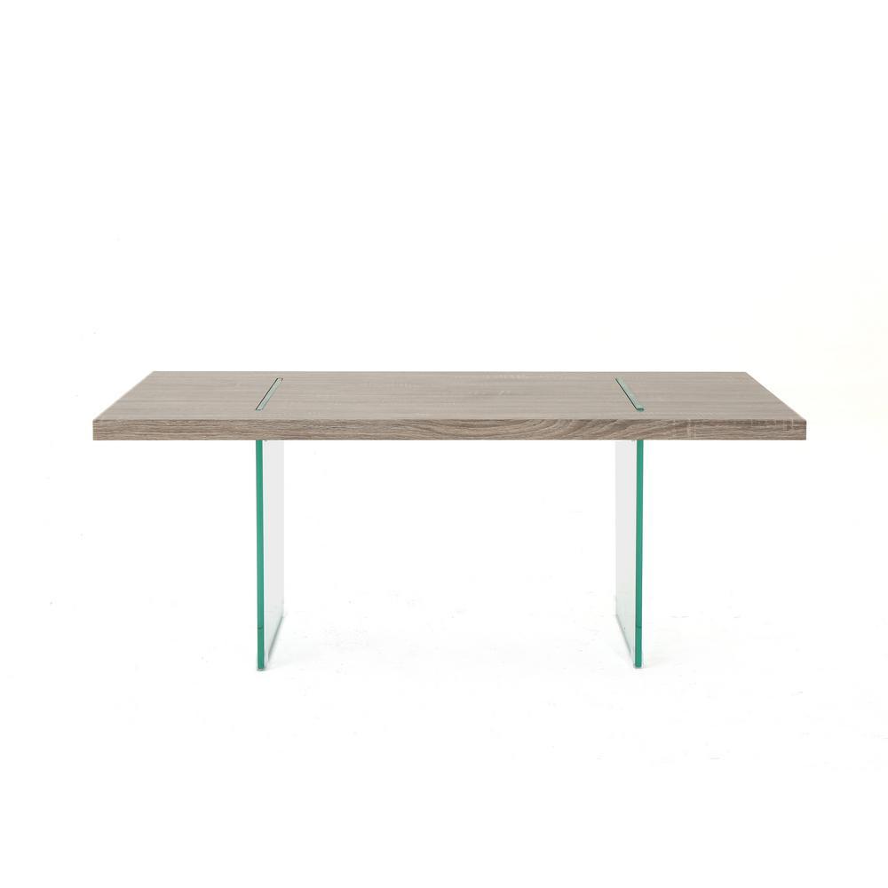 Wren modern dark sonoma oak faux wood coffee table with tempered glass legs
