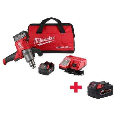 M18 FUEL 18-Volt Lithium-Ion Brushless 1/2 in. Cordless Mud Mixer Kit with Free 5.0AH Battery