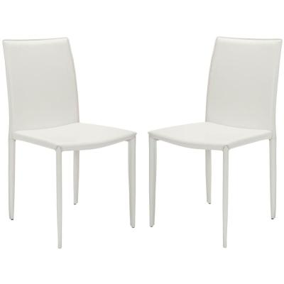 Karna White Bonded Leather Dining Chair