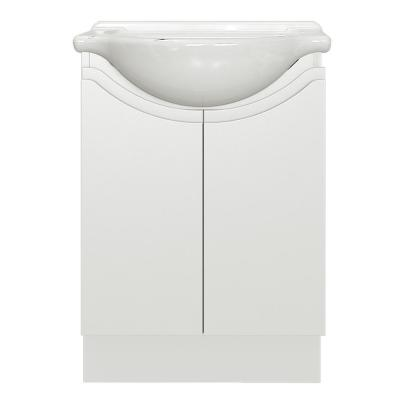 Huntsbury 24 in. W x 17-1/8 in. D Bath Vanity in White Gloss with Porcelain Vanity Top in White with White Basin