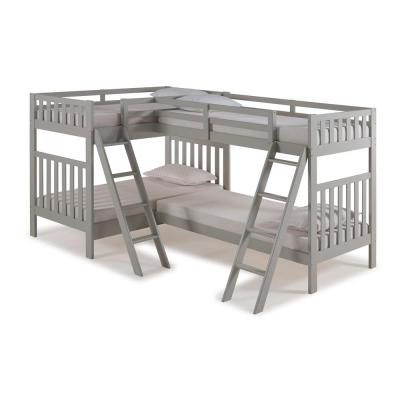 Aurora Dove Gray Twin Over Twin Bunk Bed with Quad-Bunk Extension