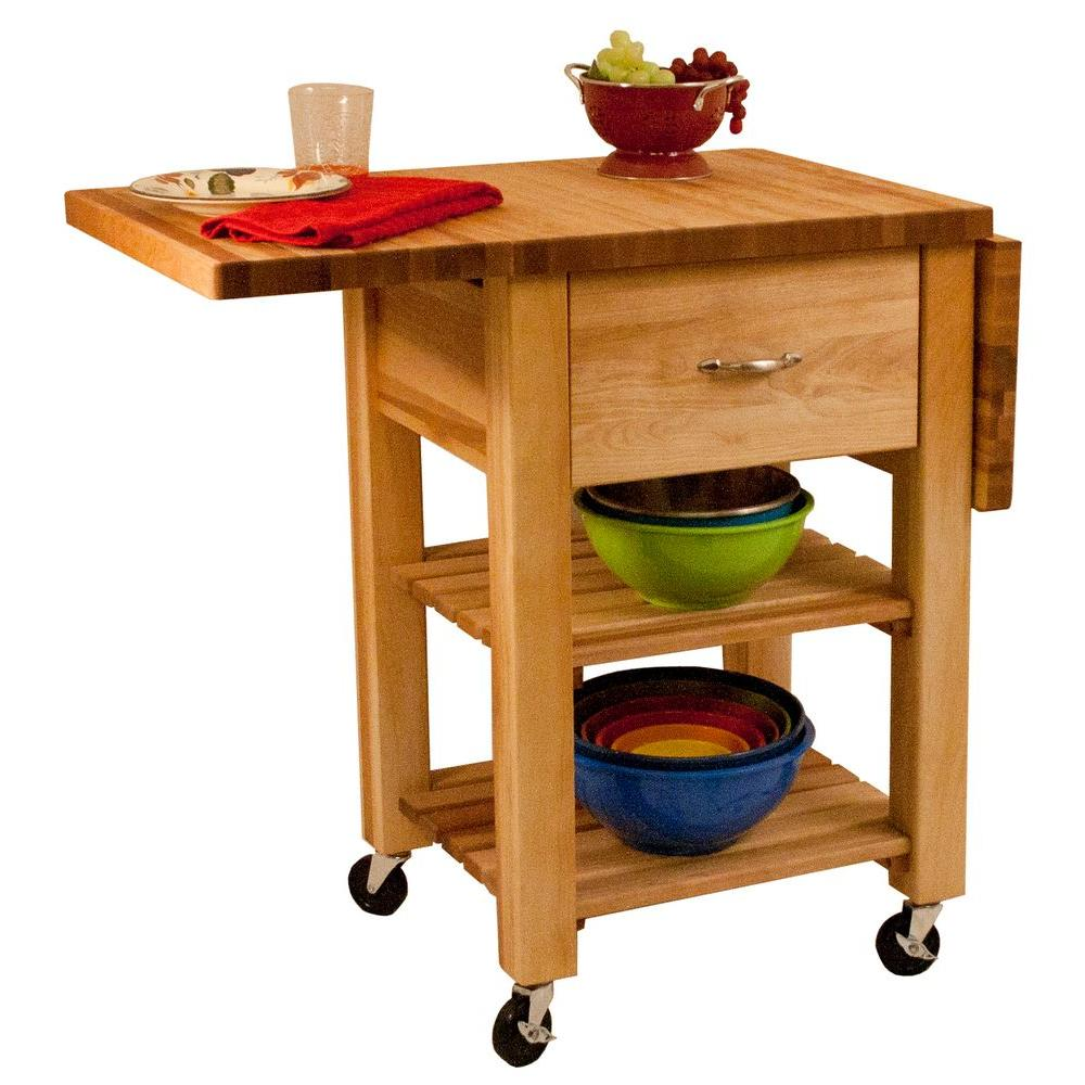 Catskill Craftsmen Natural Kitchen Cart With Drop Leaf