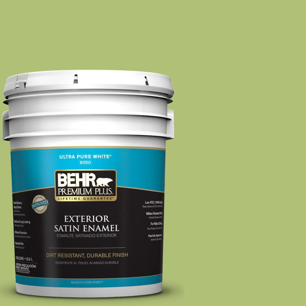5-gal. #HDC-SM14-5 Lavish Lime Satin Enamel Exterior Paint