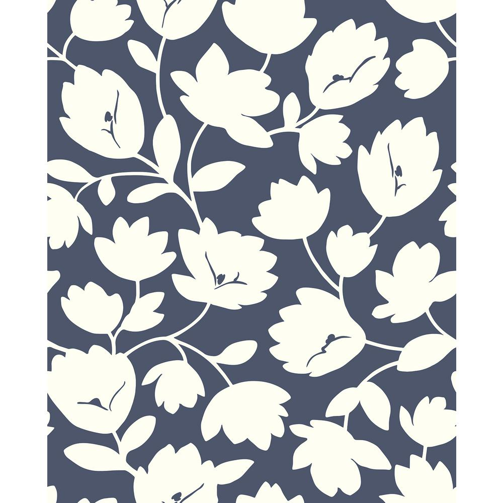 A Street 56 4 Sq Ft Astrid Navy Floral Wallpaper 2782 24552