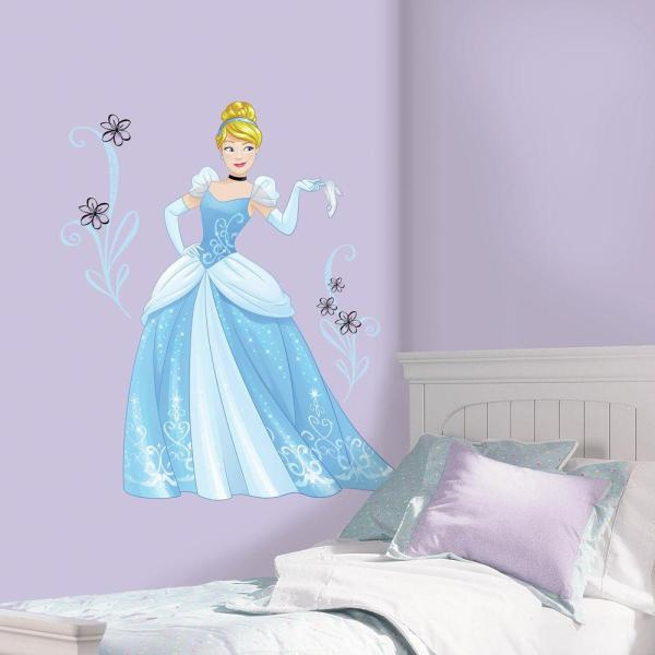 2.5 in. x 27 in. Disney Sparkling Cinderella 10-Piece Peel and Stick Giant Wall Decal