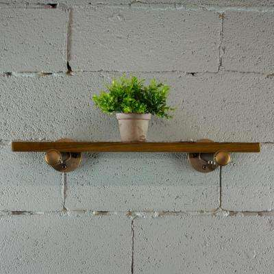 Single brushed bronze pipe with reclaimed-aged wood bookshelf.