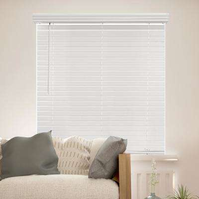Cut-to-Width White Cordless 2 in. Slat Faux Wood Blind - 68 in. W x 72 in. L