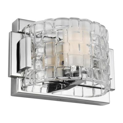 Brinton 7 in. Chrome Sconce with Clear Basket Weave Shade