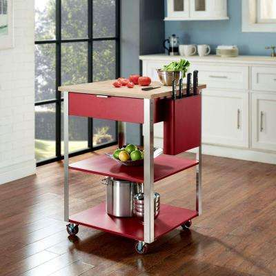 Culinary Prep Kitchen Cart in Red