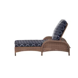 Beacon Park Brown Wicker Outdoor Patio Chaise Lounge with CushionGuard Midnight Trellis Navy Blue Cushions