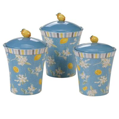 Citron 3-Piece Patterned Multi-Colored Earthenware 86 oz. Canister Set