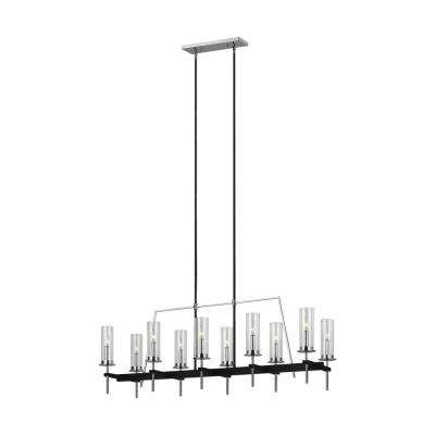 Broderick 10-Light Textured Black Linear Chandelier with Clear Glass Shades