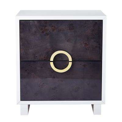 Cavalli Lacquer Grey White Burl Side Table