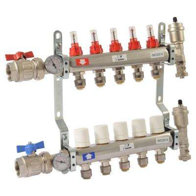 1 in. NPT Inlet x 1/2 in. Stainless Steel Push-Fit 5-Outlet Radiant Heating Manifold