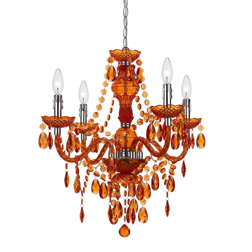 Red Acrylic Chandelier: AF Lighting Naples 4-Light Chrome Mini Chandelier With