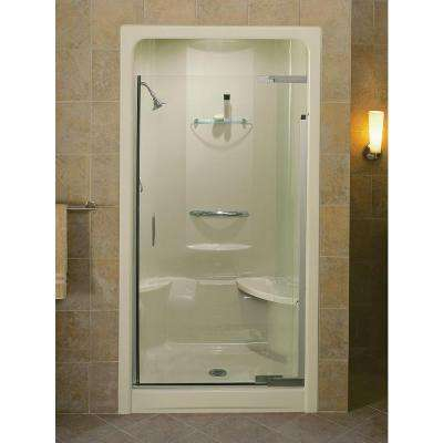 Purist 42 in. x 72 in. Heavy Semi-Frameless Pivot Shower Door in Vibrant Brushed Nickel with Handle